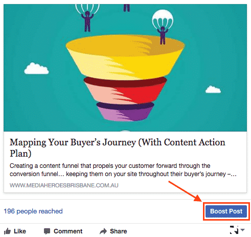 Boosting posts on Facebook: Click the boost post button