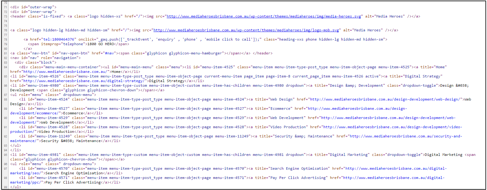 On Page SEO - Code View