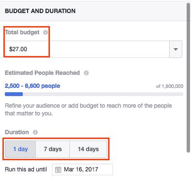 Boosting posts on Facebook: Decide your budget