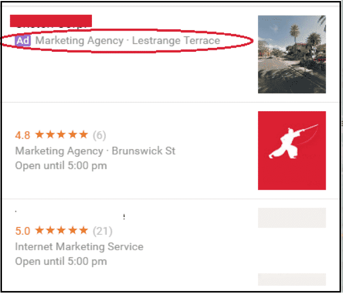 Google My Business Listing - paid ads in the Local Finder listings