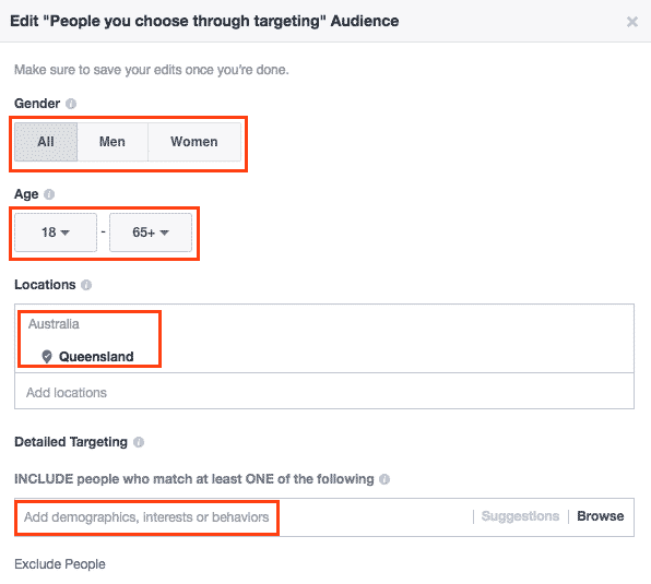 Boosting posts on Facebook: Extra options - target audience