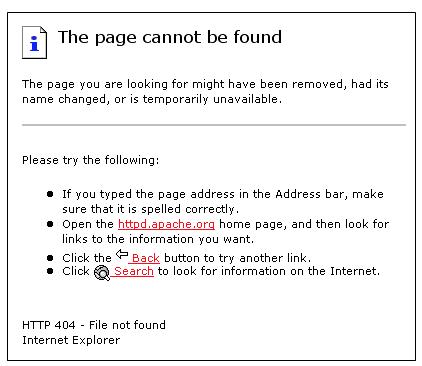 Standard 404 error page - web design & development