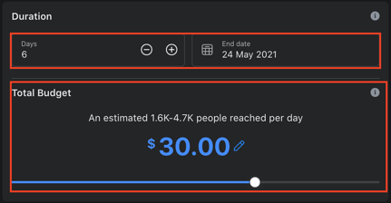 Facebook post boost Budget & Duration