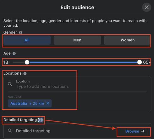 Facebook edit audience targeting